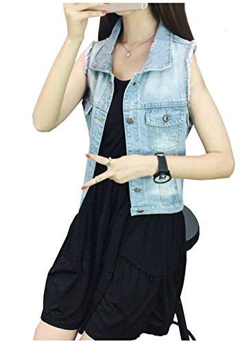 Moda Autunno Vintage Primaverile Jeans Donna Giacche Corto Casuali Hellblau Ragazza Fit Denim Bavero Cappotto Gilè Slim Smanicato Gilet Giacca Eleganti CqIwExt5w