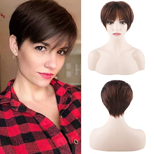 Creamily Synthetic Short Wigs with Bangs Dark