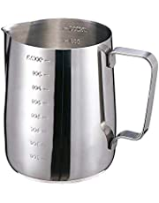 30oz/900ml Milk Frothing Pitcher Stainless Steel Coffee Espresso Steaming Pitcher Jug, Measurements on Both Sides,Perfect Barista Tools, Latte Art
