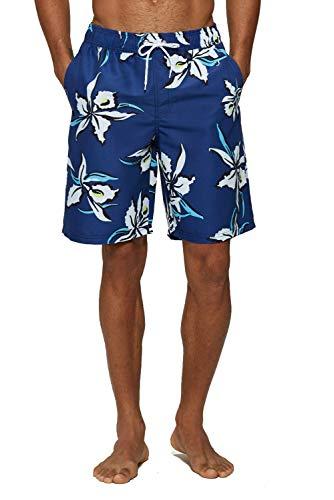 ELF QUEEN Men's Plus Size Beach Shorts Swim Trunks Extended Size Swimwear Ocean Flower XX-Large