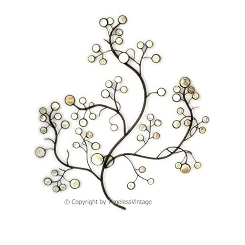 Wrought Iron Wall Mother Pearl Metal Tree Decor Life Hanging Large  Sculpture Art