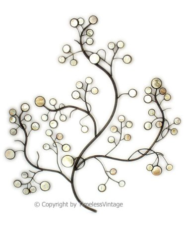 - American Chateau Wrought Iron Wall Mother Pearl Metal Tree Decor Life Hanging Large Sculpture Art