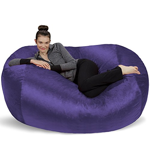 Sofa Sack - Plush Bean Bag Sofas with Super Soft Microsuede Cover - XL Memory Foam Stuffed Lounger Chairs for Kids, Adults, Couples - Jumbo Bean Bag Chair Furniture - Purple 6'
