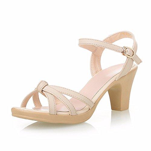 No. 55 Shoes Femmina Sandali Estivi di Mezza Età Donna Comfort Elegante Madre di Scarpe,US6/EU36/UK4/CN36,Bianco cremoso