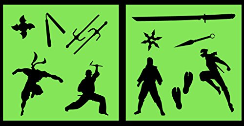 Auto Vynamics - STENCIL-NINJASET01-10 - Detailed Ninjas & Ninja Weapons Stencil Set - Includes Sai, Katana, Nunchaku, & Multiple Ninjas! - 10-by-10-inch Sheet - (2) Piece Kit - Pair of Sheets -