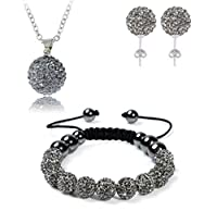 AdamEva Factory - Crystal Shamballa Disco Balls Sets Jewelry Set [Necklaces Pendants / Bracelet / Earring Studs] (Grey)