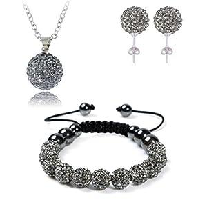 AdamEva Factory - Crystal Shamballa Disco Balls Sets Jewelry Set [Necklaces Pendants / Bracelet / Earring Studs] (Grey)