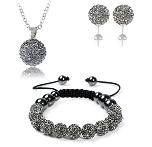 Bharatanatyam Costumes Blue - AdamEva Factory - Crystal Shamballa Disco Balls Sets Jewelry Set [Necklaces Pendants / Bracelet / Earring Studs] (Grey)