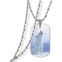 Cardlyz Animal Wolf Coyote Howl Zinc Alloy Necklace Chain 3D Printed Pendant Stainless Jewelry Army Card Ornament For Men Women Unisex Gift