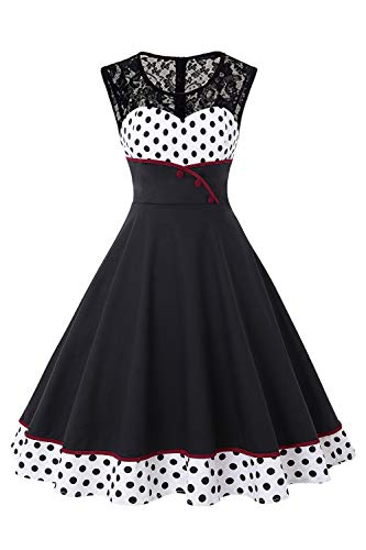Vintage Retro Audrey Hepburn Style Pin up 1950s Prom Cocktail Dress for Women-L Black
