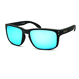 eyewear Shades fashion blue glass lenses Polarized for Men and Women (Frame: Matte Black, Polarized Blue Flash)