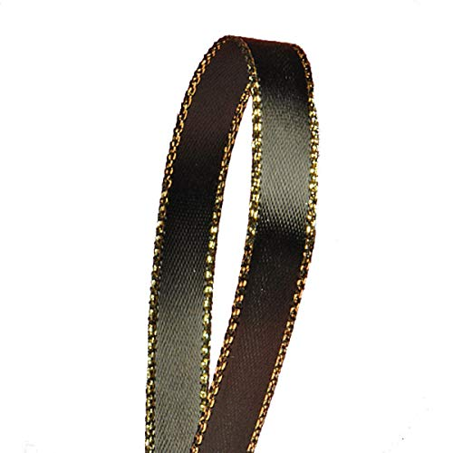 Black Satin Ribbon with Gold Edges, 3/8