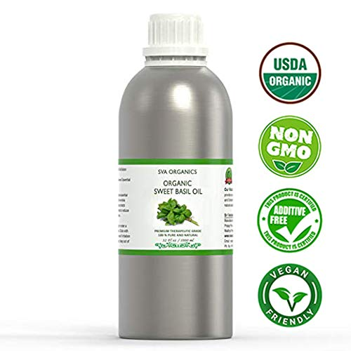 USDA Certified Organic Essential Sweet Basil Oil –32 Oz - 100% Pure Natural Premium Grade by SVA Organics - For Perfect for Diffuser, Hair   Skin, Face Traditional Oil. ()