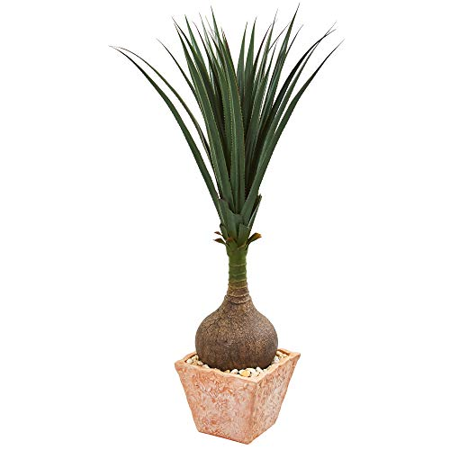 (Nearly Natural 9324 58-in. Yucca Artificial Terra Cotta Planter Silk Plants Green)