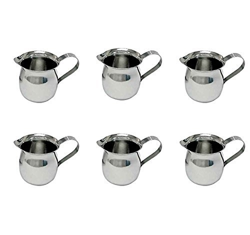 Creamer Syrup Pitcher - Update International BC-3 Stainless Steel Bell Creamer, 3-Ounce, 2-1/4-Inch, Set of 6