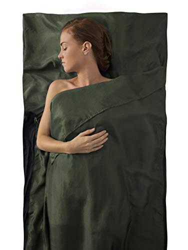 - Sea to Summit Premium Silk Travel Liner, Eucalyptus Green, Traveler w/ Pillow Insert (85 x 36in)