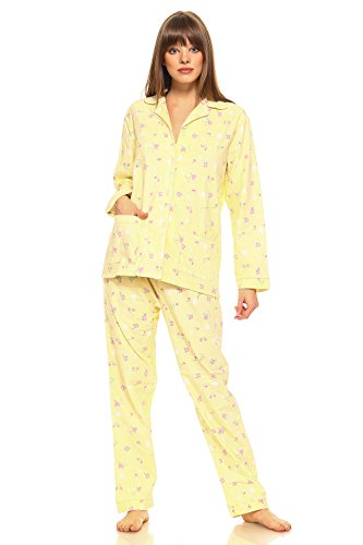 MarCielo Women's Sleepwear 100% Cotton Pajama Set For Women, Lightweight Cotton Flannel Long Sleeve Top and Pant Pajamas Set (M, Light (Yellow Womens Pajamas)