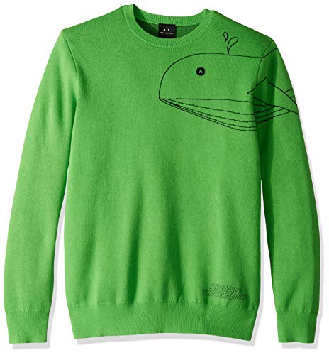 - A|X Armani Exchange Men's Sea Creature Pull Over Sweater, CL.Green/Out.Navy, S