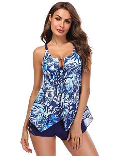 LAZOSAL Womens Two Piece Front Tie Swimsuit Cross Back Flowy Tankini Tummy - Tie Cross Front