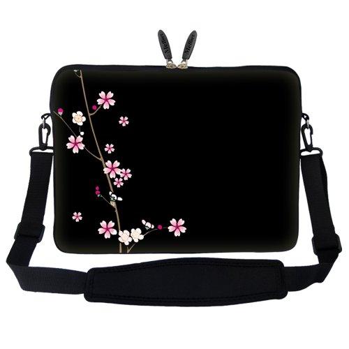 Plum Blossom Designs - Meffort Inc 15 15.6 inch Neoprene Laptop Sleeve Bag Carrying Case with Hidden Handle and Adjustable Shoulder Strap - Plum Blossoms Design