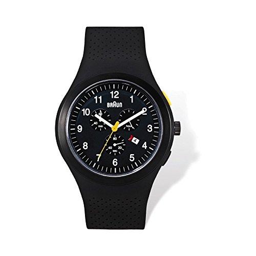 Mens Braun Black Dial Black Silicone Strap Chronograph Watch
