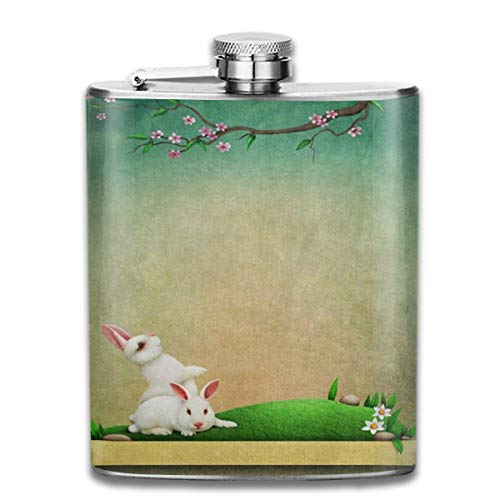 Zeajant Stainless Steel Flask, Whiskey Flask Vodka Alcohol Flask Vintage Hipster Rabbit Easter Blossom Portable Pocket Bottle, Bag Bottle, Camping Wine Bottle, Suitable for Men and Women 7oz