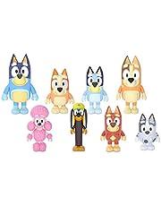 Bluey Familj och vänner figur 8-pack: Artikulerade 6 cm actionfigurer; Bluey, Bingo, Bandit (pappa), Chili (mamma), Coco, Snickers, Rusty och Muffin Officiell Samlarleksak