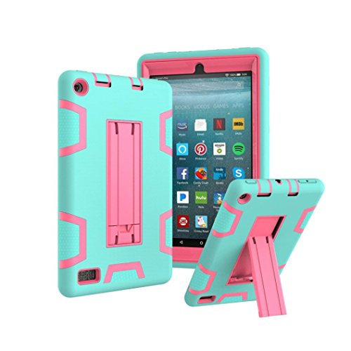 Price comparison product image Mchoice Layer Hybrid Armor Protective Stand Cover Case for Amazon Kindle Fire 7 Inch (2017) (A)