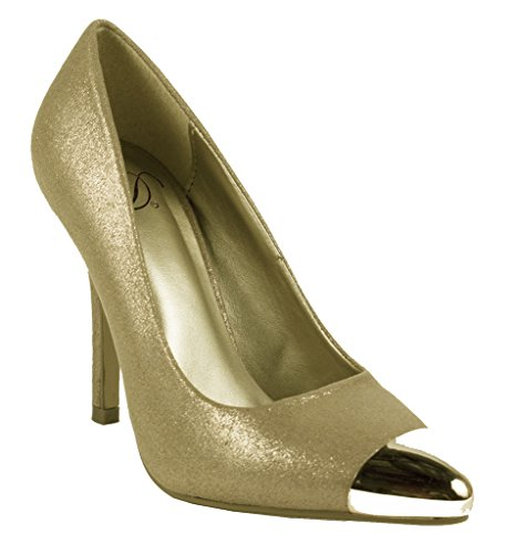 Lustacious Women's Sexy Pointy Toe Slip On Pumps with Trendy Faux Metal Caps, bronze shimmer, 6 M