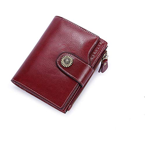 Womens Small Wallet Lady Purse Bifold RFID Blocking Leather Short Zipper Wallet Vintage Card Holder Organizer Safe Coin Purse (Red-1)