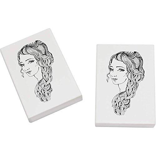 Azeeda 2 x 45mm 'Fille avec les Cheveux Longs' gommes (ER00009261)