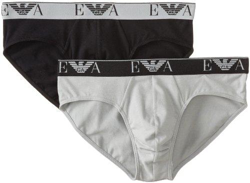 Emporio Armani Men's Stretch Cotton 2 Pack Brief, Black/Mauve, Large