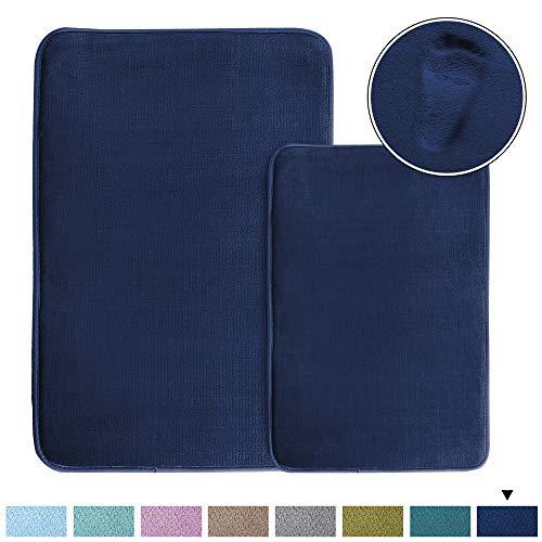 (Cozy Velvety Memory Foam Bath Rugs/Carpets (2 Pack) Soft Flannel Bath Mat Set Quick Dry Non-Slip Rugs Set for Bathroom/Powder Room, Machine-Washable (20