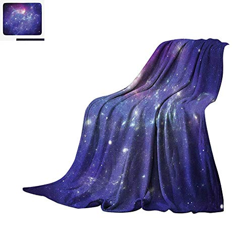 (Outer Space Digital Printing Blanket Nebula Gas Cloud Dust Spiral Expanse Planet Galaxy System Milky Way Inspired Oversized Travel Throw Cover Blanket 60