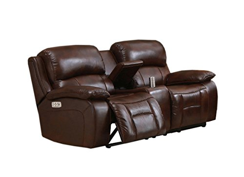 Amax Leather Westminster II Power Reclining Loveseat with Power Headrest & Console, Brown