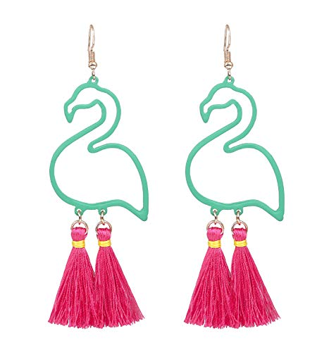 HSWE Flamingo Earrings for Women Tassel Dangle Earrings Statement Summer Fashion Jewelry (Green+Rosy)