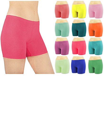 Sexy Basics Women's 6 Pack Cotton Stretch Vibrant Color Boy Short Boxer Briefs (3XL, 6 Pack - Assorted Solid Colors from Collection) Boys Sleep Boxers