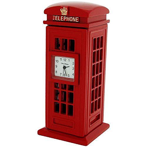 (Miniature Red Telephone Box Novelty Quartz Movement Collectors Clock 9756)