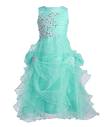 FAIRY COUPLE Big Girl's Ruffled Applique Flower Girl Communion Pageant Dress K0073 8 Aqua (Ball Gown For Girls)