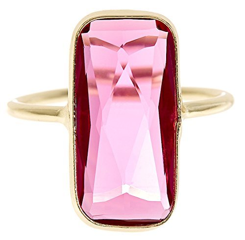 Raspberry Quartz 18k Gold Clad Fancy Cut Wholesale Gemstone Jewelry Rectangle Ring (Size 7)
