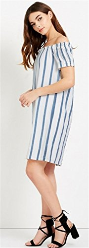 Moda Manga Corta con Rayas Off The Shoulder Hombros al Descubiertos Aire Escote Bardot Minivestido Mini de Corte Shift Boxy Straight Dress Vestido Azul Blanco Azul Blanco