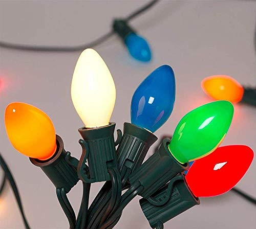 - SkrLights Christmas Lights(25FT) 5 Multi-Color Outdoor&Indoor Light for Holiday Party Wedding etc,25 Ceramic C7 Light(Plus 2 Extra Bulbs)