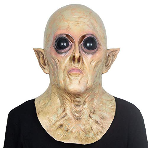 (LXIANGP Alien UFO Head Set Halloween Latex Mask Bar Haunted House Movies and TV Props Horror Party)