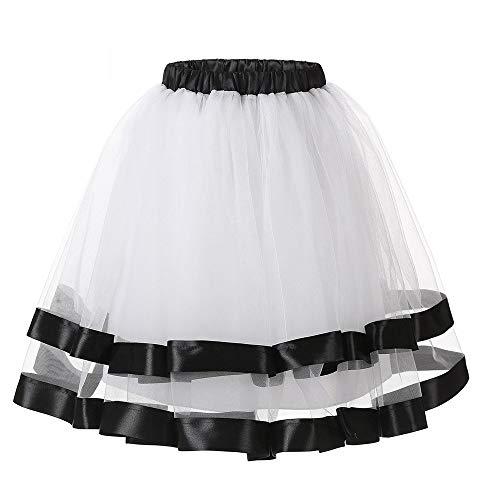 36 Taglia Donna Lazzboy Petticoat Tutù Raso Balletto Nero Gonna Bianco Danza Organza Tulle Hem 52 Layred Tw1qp7w