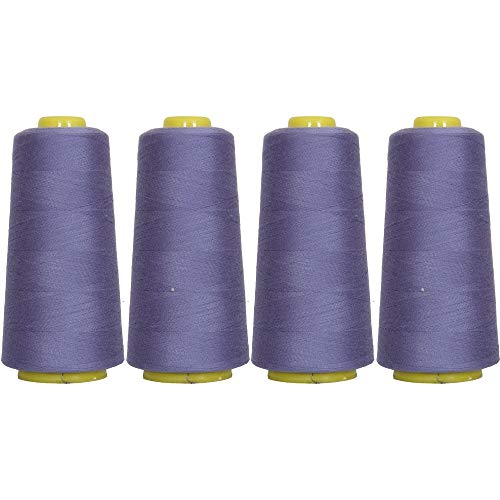Threadart Polyester Serger Thread - 2750 yds 40/2 - Periwinkle - 56 Colors Available - 4 Cone Bundle ()