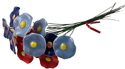 Polish Bouquet: 18 Ceramic Flowers ( 6 Red. 6 Light Blue, 6 Dark Blue) 10 Inch Wire Stems-Made in Poland