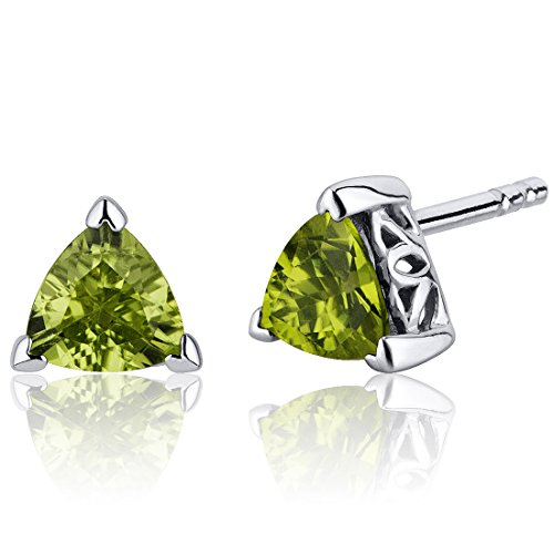 - 1.50 Carats Peridot Trillion Cut V Prong Stud Earrings in Sterling Silver Rhodium Nickel Finish