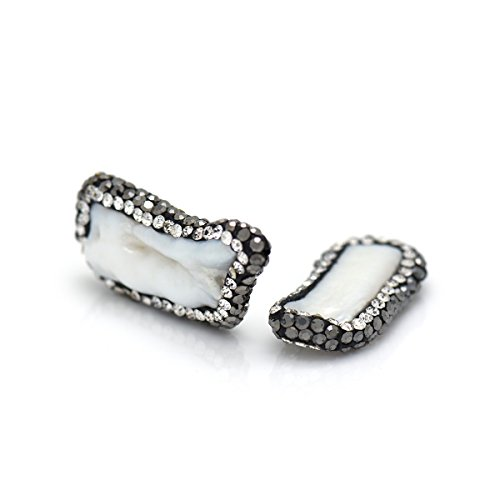 BestBeaded Long Bar Freshwater Pearl Connector Link Charm,Pave Rhinestone Pendant Findings for Jewelry Making 16x28mm 10Pcs