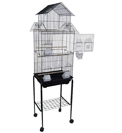 Mcage Large Tall Pagoda House Canary Parakeet Cockatiel Lovebird Finch Bird Cage with Stand -18'x14'x60'