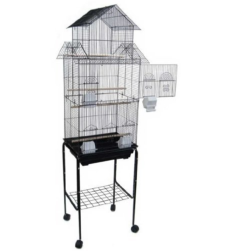 Large Pagoda House Canary Parakeet Cockatiel LoveBird Finch Bird Cage With Stand --18''x14''x60''-*Black* by Mcage